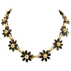 20th Century Gold & Black Enamel Dimensional Link Flower Choker Style Necklace