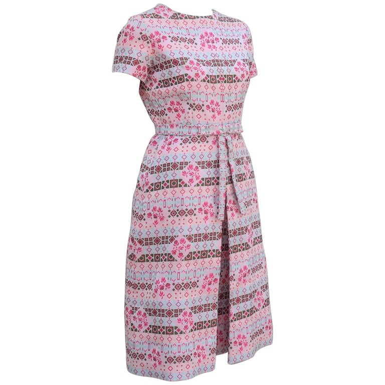 C.1970 Chester Weinberg Graphic Pink Brocade Dress
