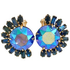60'S Gold & Austrian Crystal Earrings By, Alice Caviness