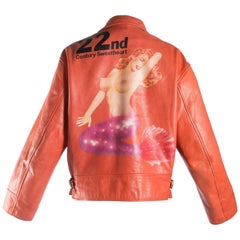 Yohji Yamamoto orange leather jacket with Marilyn Monroe pin-up, A / W 1991