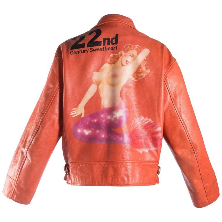 Yohji Yamamoto orange leather jacket with Marilyn Monroe pin-up, A / W 1991  For Sale