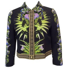 Givenchy Floral Patterned Black Cropped Jacket