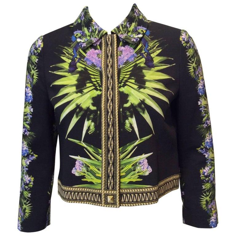 Givenchy Floral Patterned Black Cropped Jacket