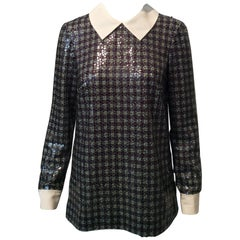 Prada Clear Sequined Multicolored Plaid Long-Sleeve Collared Shirt Sz40/Us4