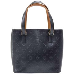 Louis Vuitton Stockton Navy Monogram Matt Leather Shoulder Bag
