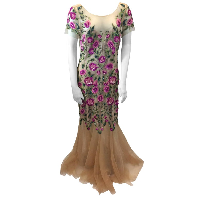 Marchesa Notte Tan Beaded Floral Gown For Sale at 1stdibs