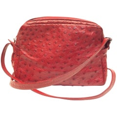 Judith Leiber Red Ostrich Leather Vintage Crossbody
