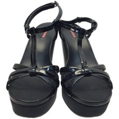 Prada Black Patent Leather Wedge