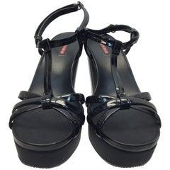 Prada Black Patent Leather Wedge