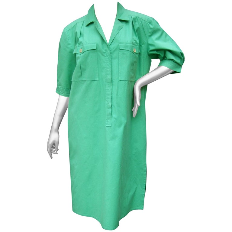 Gucci Italy Green Cotton Shirt Dress circa 1970s  For Sale