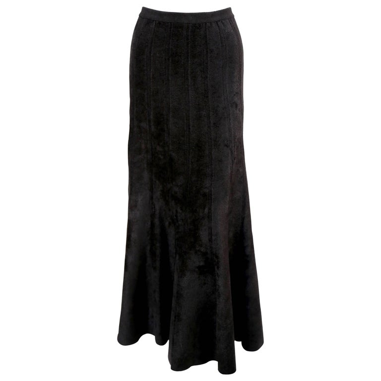 1990's AZZEDINE ALAIA long black chenille knit skirt