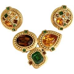 90'S Gold & Swarovski Crystal Brooch & Earrgis By, Oscar De La Renta
