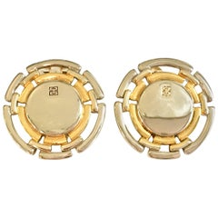 "90'S Silver & Gold Vermeil ""G"" Logo Earrings By, Givenchy"