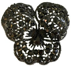 "60'S Black ""Japanned"" Austrian Crystal ""Butterfly"" Brooch By, Weiss"