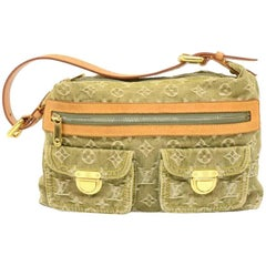 Louis Vuitton Baggy PM Green  Monogram Denim Shoulder Bag - 2006 Limited