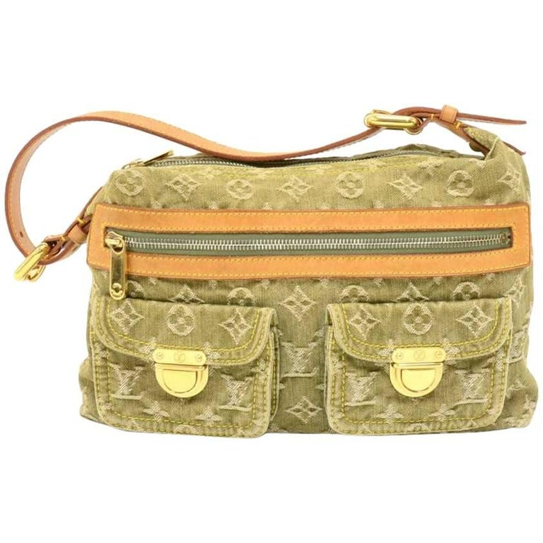 Louis Vuitton Baggy PM Green  Monogram Denim Shoulder Bag - 2006 Limited