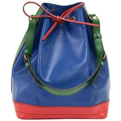 Vintage Louis Vuitton Noe Large Tricolor Blue Green & Red Leather Shoulder Bag