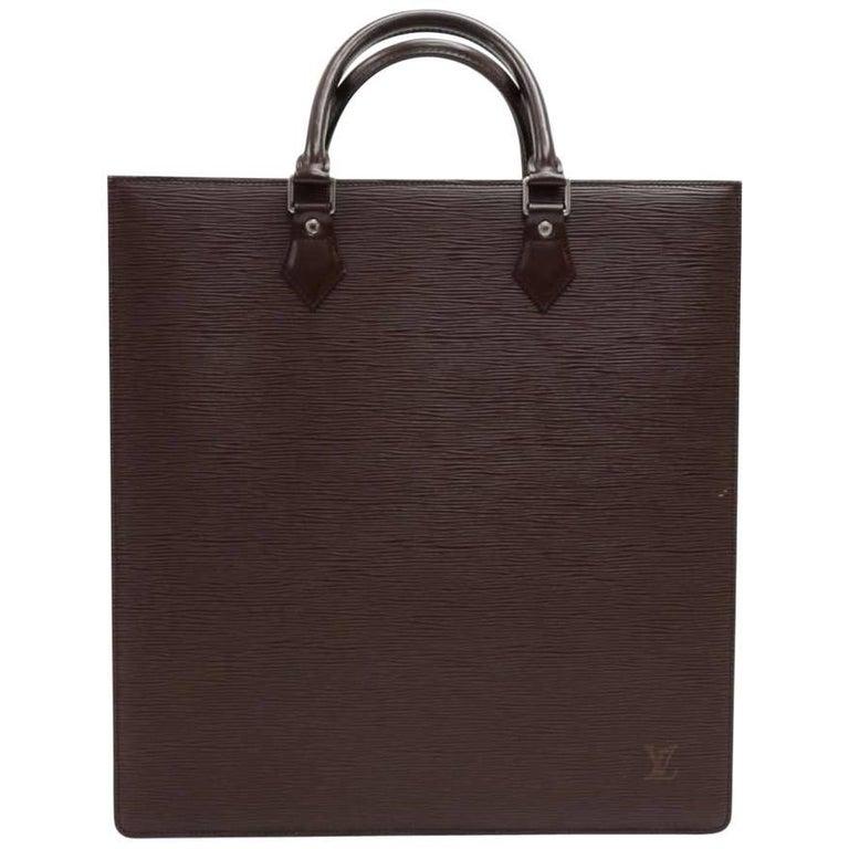 Louis Vuitton Sac Plat Brown Epi Leather Handbag Tote Silver Hardware