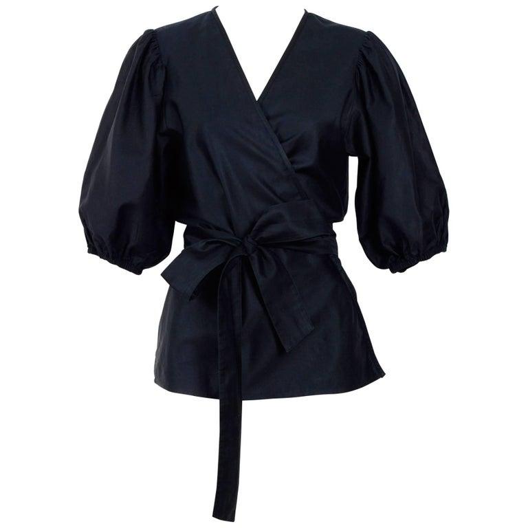 Yves Saint Laurent 1970s black cotton & silk mix wrap blouse
