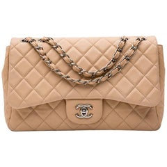 CHANEL Jumbo Flap Bag in Beige Smooth Quilted Lambskin Leather