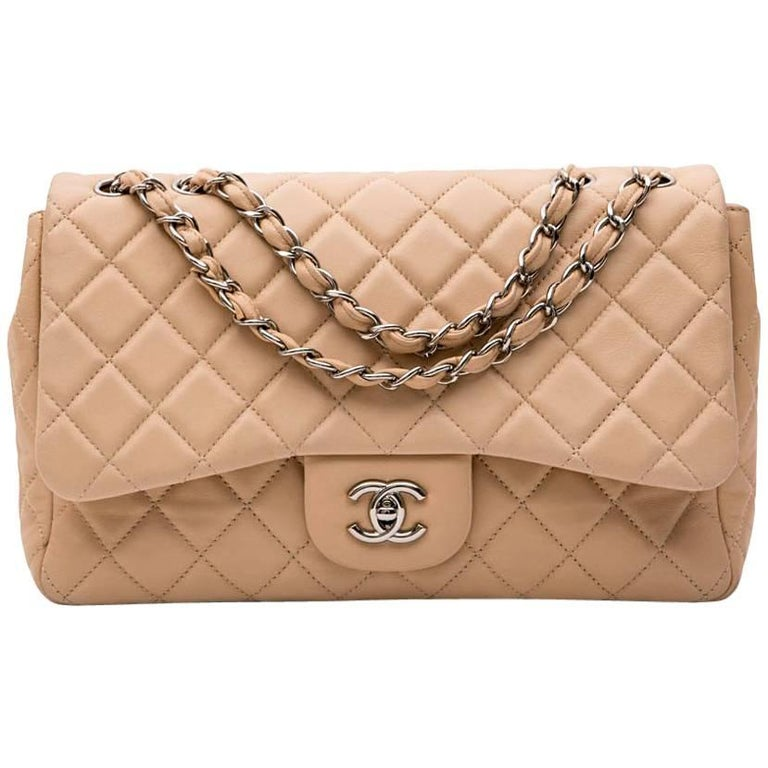 29a4a94816ac7f CHANEL Jumbo Flap Bag in Beige Smooth Quilted Lambskin Leather For Sale