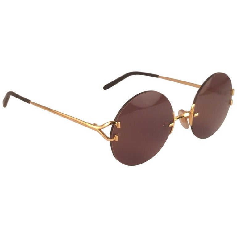 71d40eef76 Cartier Madison Round Rimless Gold Brown Lens France Sunglasses For Sale