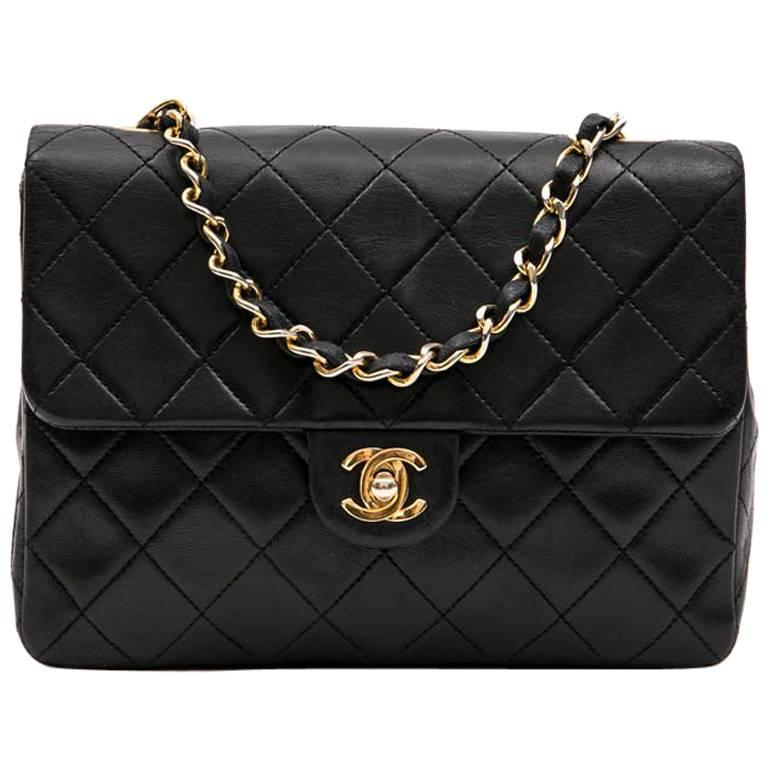 87b8a3380d65e1 CHANEL Vintage Mini Bag in Black Quilted Lambskin Leather at 1stdibs