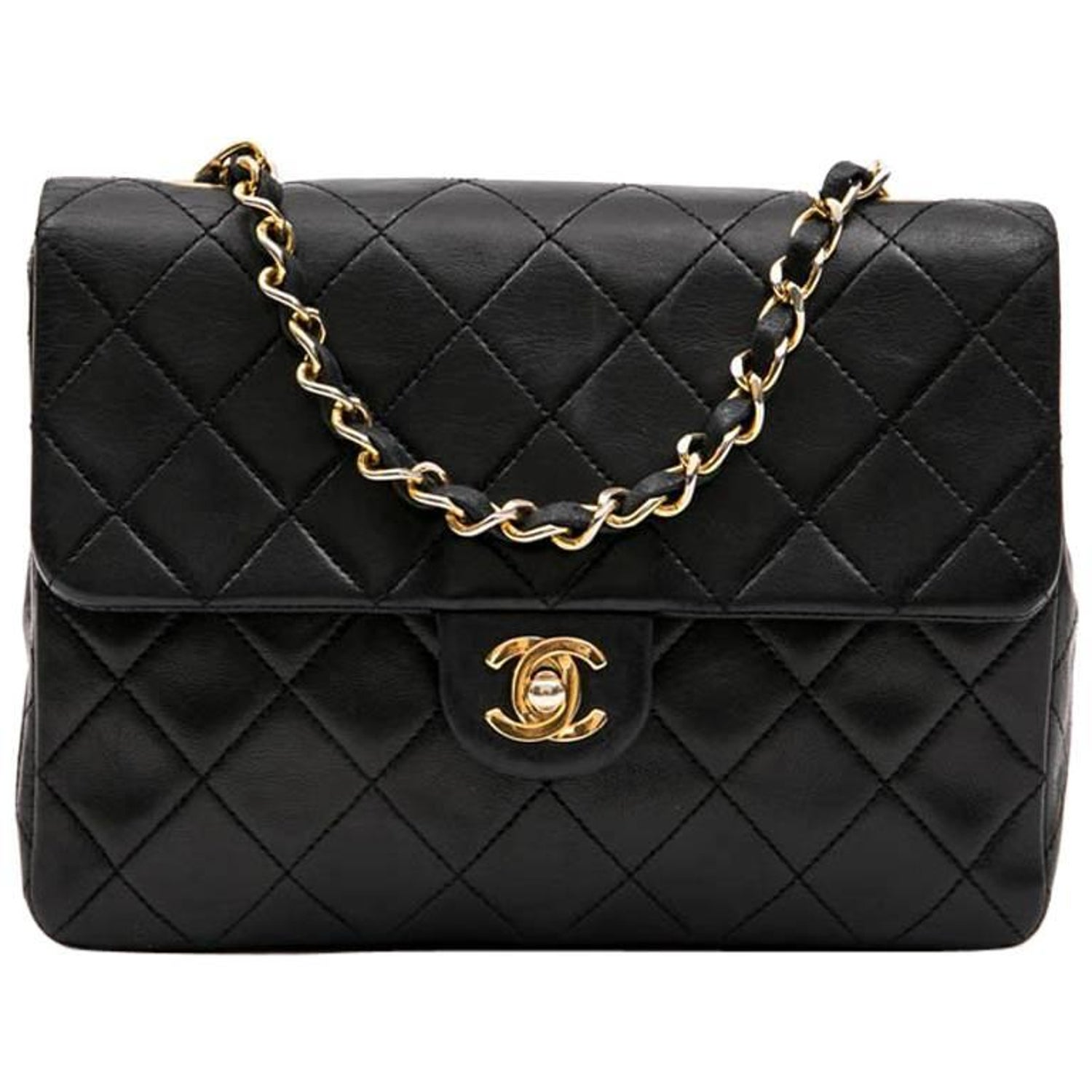 bb198febb5f0 CHANEL Vintage Mini Bag in Black Quilted Lambskin Leather at 1stdibs