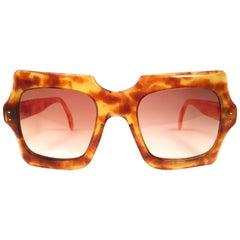 7bba6ef823 New Rare Vintage Philippe Chevallier Light Tortoise Oversized 1960 s  Sunglasses