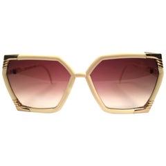 New Vintage Ted Lapidus Paris Ivory Gold Oversized 1970 Sunglasses France
