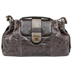 Chanel Gray Varnished Quilted Aged Leather and Galuchat Flap Bag