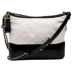 CHANEL Gabrielle 'Hobo' Bag in Aged White Quilted Leather and Black Leather