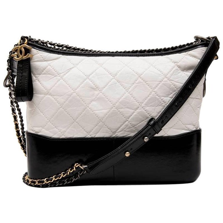 3b09145e0fbb CHANEL Gabrielle 'Hobo' Bag in Aged White Quilted Leather and Black Leather  ...
