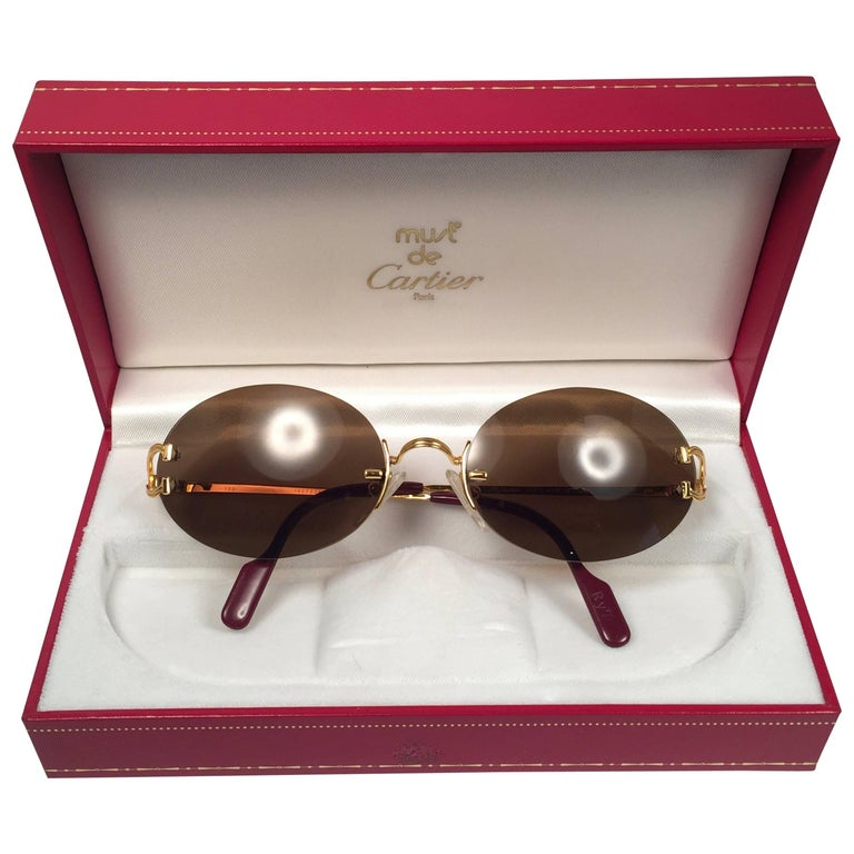 ec9590f145ff New Vintage Cartier Scala 45mm Special Edition Gold Rimless France  Sunglasses For Sale