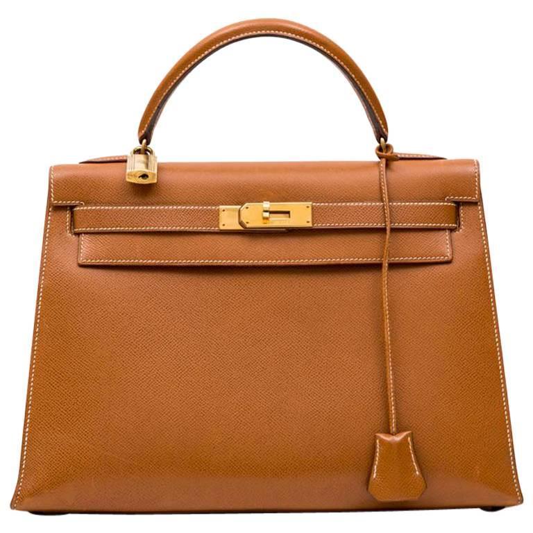 6538866e9b79 Hermes Gold Epsom Leather Sellier Kelly 32 Bag at 1stdibs