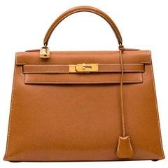 Hermes Gold Epsom Leather Sellier Kelly 32 Bag