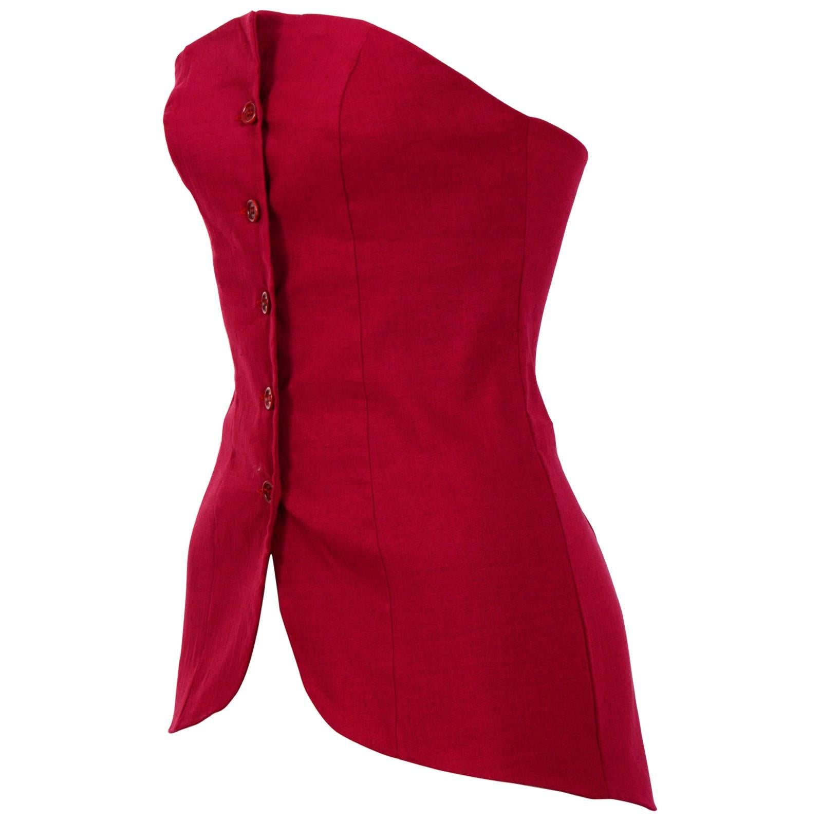Romeo Gigli vintage red bustier top, 1990s