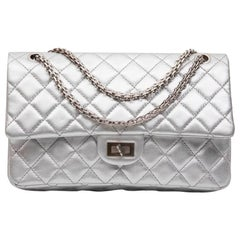 CHANEL 'Timeless' Double Flap Bag in Silver Quilted Leather