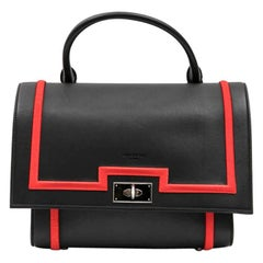 "Givenchy Black Calf Leather and Red Threads ""Shark"" Bag"