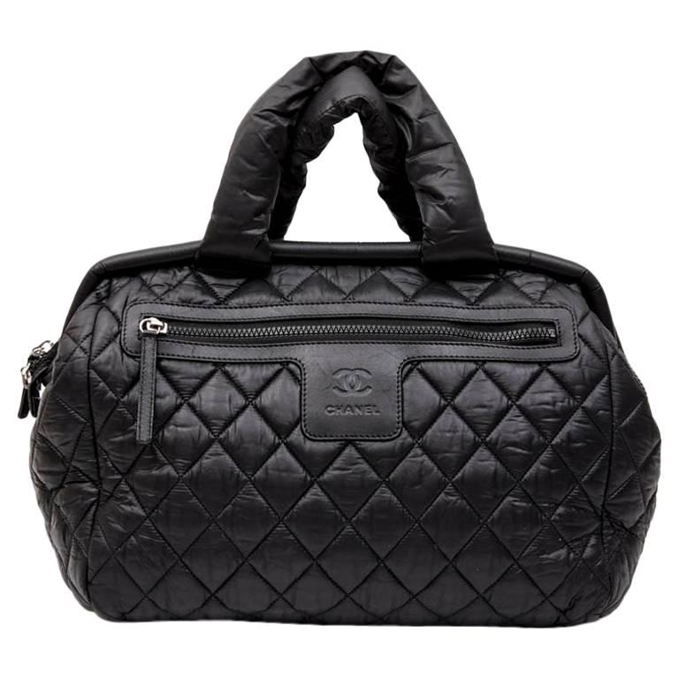 Chanel Co Bag In Black Quilted Parachute Fabric For