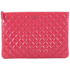 Chanel O Case Clutch Quilted Patent Large