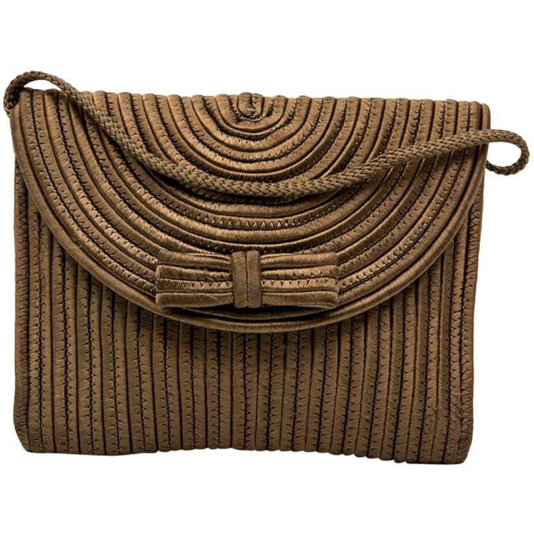 YSL YVES SAINT LAURENT Rive Gauche Mini Bag in Bronze Color Fabric