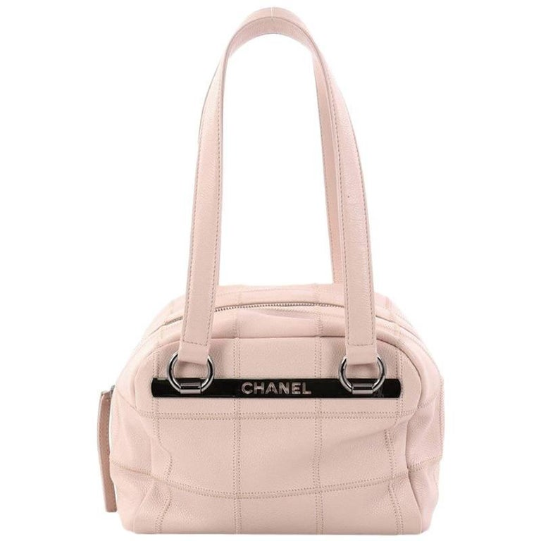 Chanel Square Stitch Bowler Bag Quilted Caviar Small