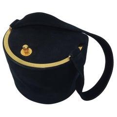 1940's Koret Black Suede Handbag With Unique Closure