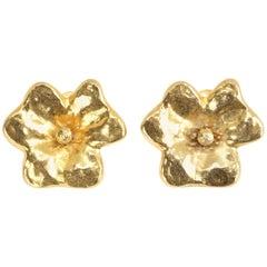Yves Saint Laurent vintage gilt floral earrings