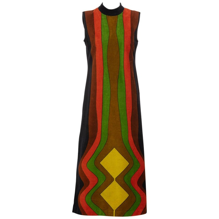 Yves Saint Laurent Multicolored Print Terry Cloth Caftan Dress, 1970s