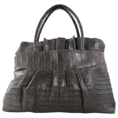 Nancy Gonzalez Ruffle Convertible Tote Crocodile Large