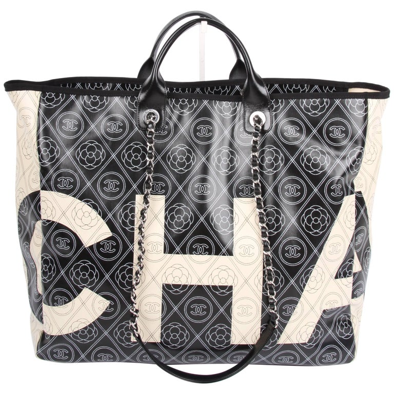 f763c6635a7 Chanel black and white Deauville Canvas Tote Runway Bag