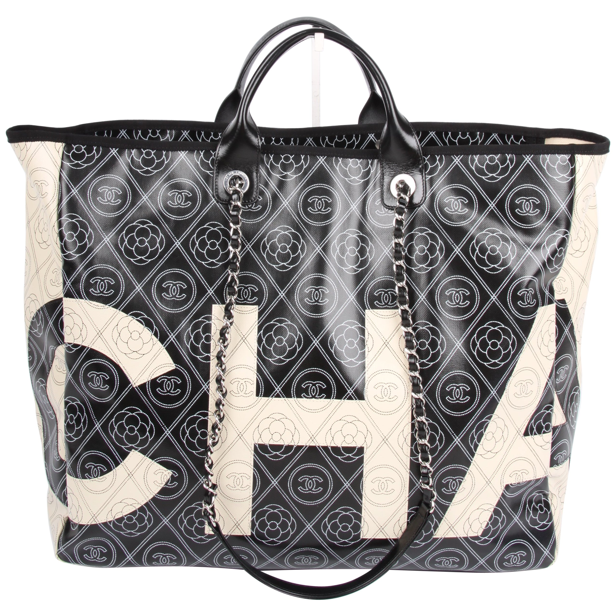 103b77dfb8ab Chanel black and white Deauville Canvas Tote Runway Bag