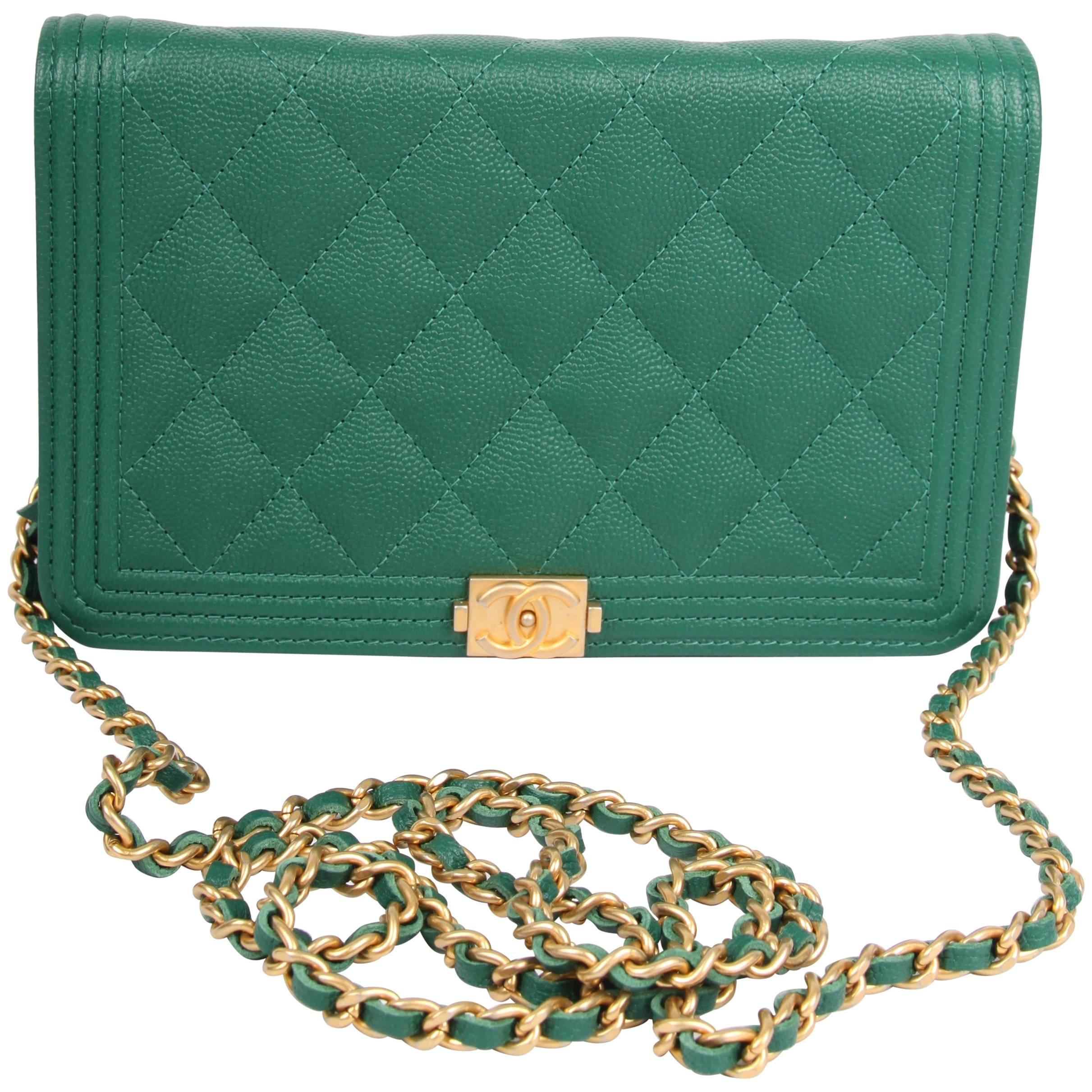 e16894e85c56 Chanel WOC Wallet on Chain Boy Bag - emerald green at 1stdibs